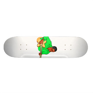 Black man playing electric bass green shirt skateboard