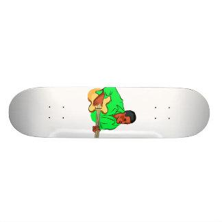 Black man playing electric bass green shirt skateboard