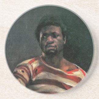 Black man portrait Othello painting Lovis Corinth Beverage Coasters