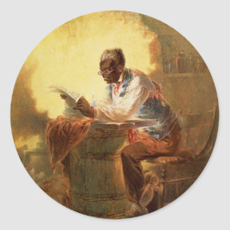 Black Man Reading Newspaper by Candlelight Classic Round Sticker