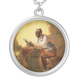 Black Man Reading Newspaper by Candlelight Round Pendant Necklace