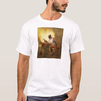 Black Man Reading Newspaper by Candlelight T-Shirt