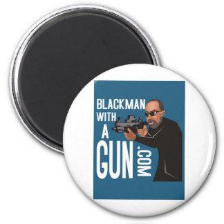 Black Man With A Gun LogoWear 2 Inch Round Magnet