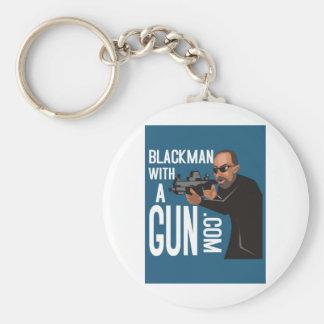 Black Man With A Gun LogoWear Basic Round Button Keychain