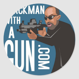Black Man With A Gun LogoWear Classic Round Sticker