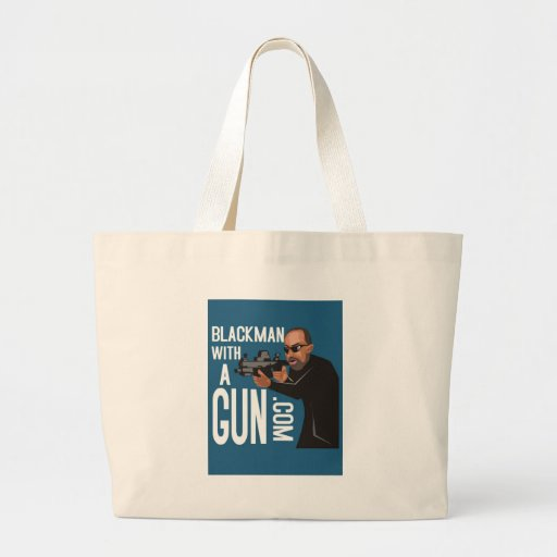 black man with a gun podcast tote bags