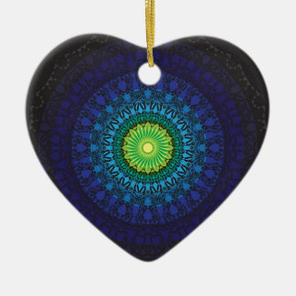 Black Mandala Design Ceramic Ornament