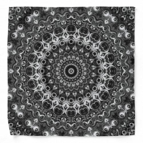 Black Mandala Design Kaleidoscope Pattern Bandana