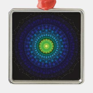 Black Mandala Design Metal Ornament