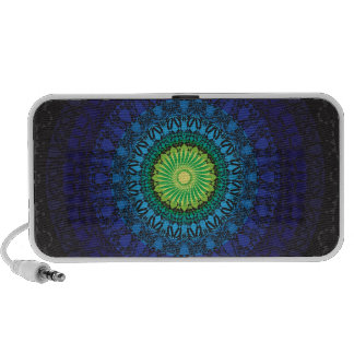 Black Mandala Design Laptop Speakers