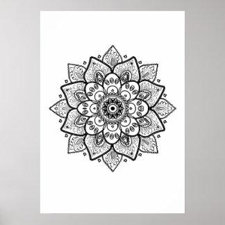 Black Mandala On White Poster