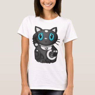 Black Maneki Neko Bekoning Good Luck Cat T-Shirt