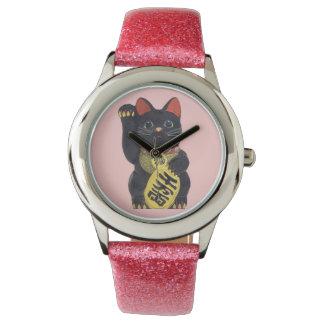 Black Maneki Neko Cat Wristwatch