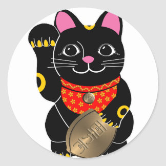 Black Maneki Neko Classic Round Sticker