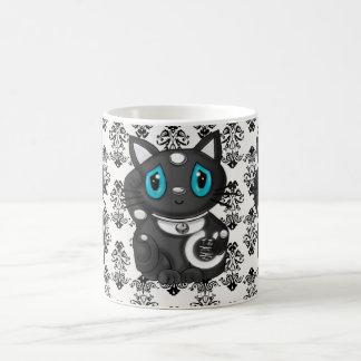 Black Maneki Neko Damask Good Luck Cat Classic White Coffee Mug