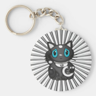 Black Maneki Neko Good Luck Cat Keychain