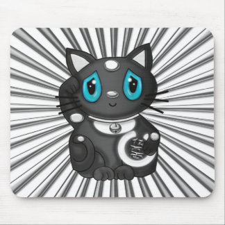 Black Maneki Neko Good Luck Cat Mouse Pad