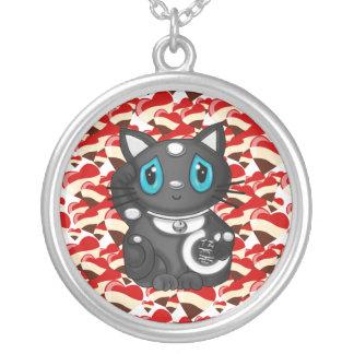 Black Maneki Neko Lucky Beckoning Cat Silver Plated Necklace