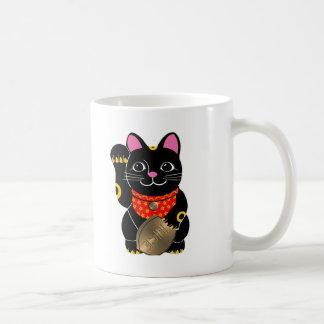 Black Maneki Neko Classic White Coffee Mug