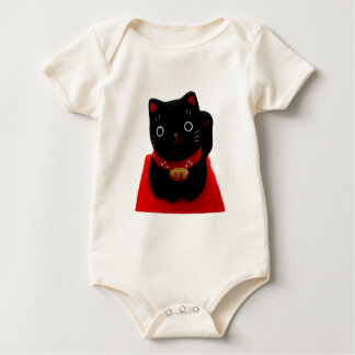 Black Maneki Neko on a Red Carpet Baby Bodysuit