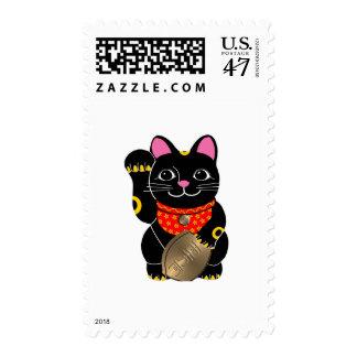 Black Maneki Neko Postage Stamp
