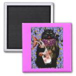 black maneki neko w/ koi 2 inch square magnet