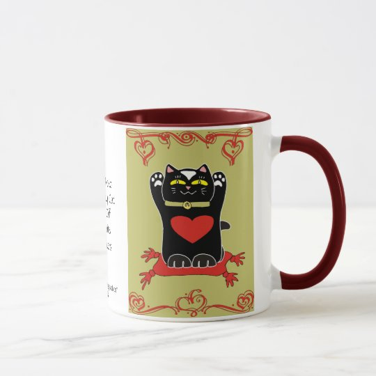 Black Maneki Neko with Hearts Mug