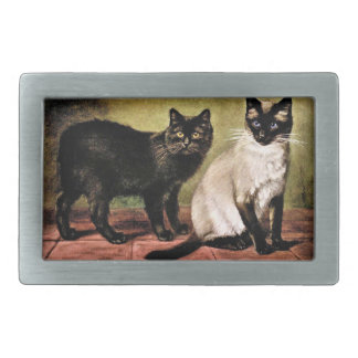 Black Mank and Royal Siamese Cat Belt Buckle