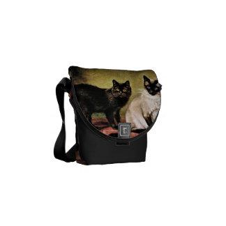 Black Mank and Royal Siamese Cat Messenger Bag
