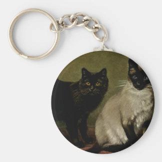 Black Manx and Royal Siamese Cat Artwork Basic Round Button Keychain