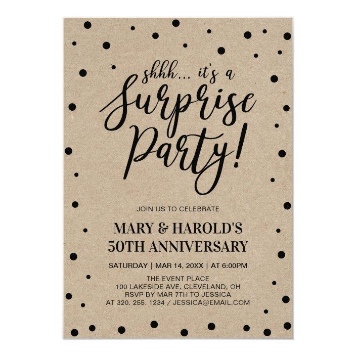 Black Marble 50th Surprise Wedding Anniversary Invitation Zazzle Com