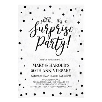 Black & Marble | 50th Surprise Wedding Anniversary Invitation