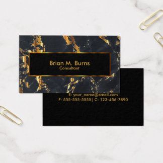 Black Marble and Metallic Gold Design Business Card