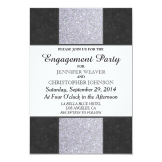 Black Marble and Silver Glitter Panel Design Card