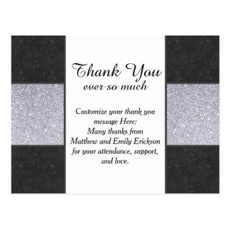 Black Marble and Silver Glitter Panel Design Postcard