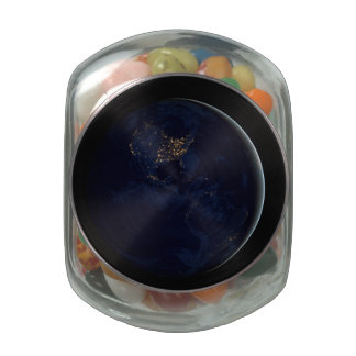 Black Marble, Blue Marble Americas Glass Candy Jar