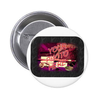 Black Marble Frame Template Pinback Button