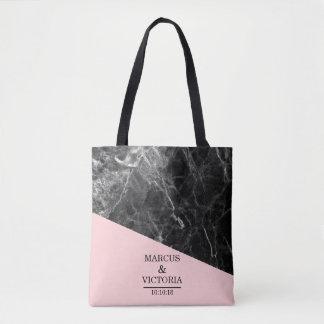 Black Marble Geometric Wedding Tote Bag