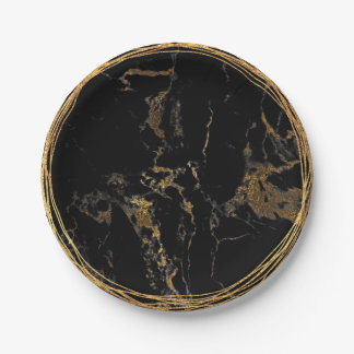 Black Marble Glam Golden Birtday Party Paper Plate