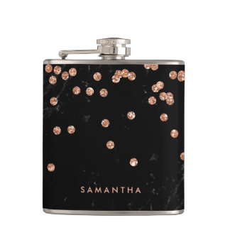 Black Marble Look with Faux Rose Gold Confetti Hip Flask