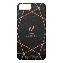 Black Marble Look with Faux Rose Gold Geometrics iPhone 8 Plus/7 Plus Case