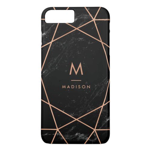 Black Marble Look with Faux Rose Gold Geometrics Phone Case