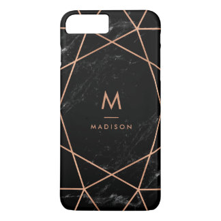 Black Marble Look with Faux Rose Gold Geometrics iPhone 8 Plus/7 Plus Case