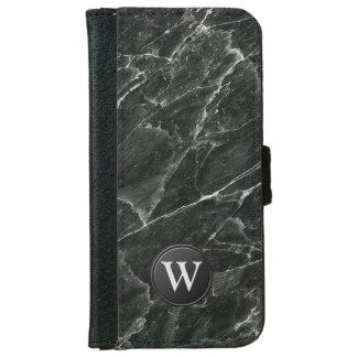Black Marble Monogram iPhone 6/6s Wallet Case