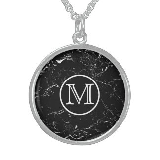 Black Marble Monogram Sterling Silver Necklace