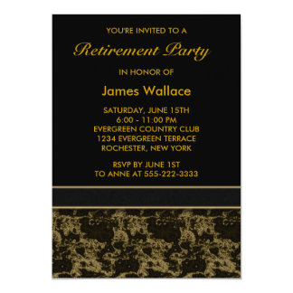 Black Marble Retirement Party 5x7 Paper Invitation Card