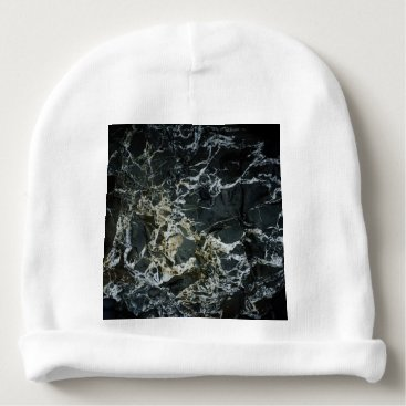 Beach Themed BLACK MARBLE ROCK Baby Beanie Hat