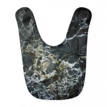 Beach Themed BLACK MARBLE ROCK Baby Bib