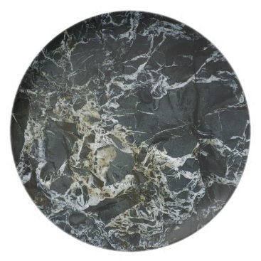 Beach Themed BLACK MARBLE ROCK Party Plate