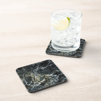 BLACK MARBLE ROCK Square Drink Coaster